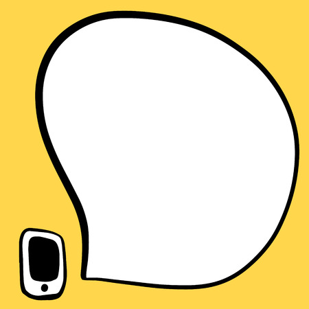 Smartphone and speech bubble hand drawn illustration in cartoon style ringing call Illustration