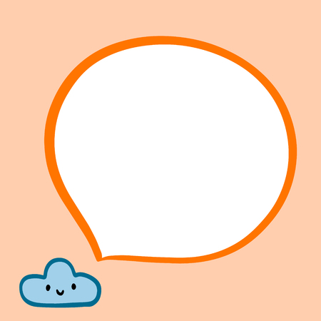 Smiling cloud and speech bubble in blue orange colors hand drawn illustration in cartoon style minimalism