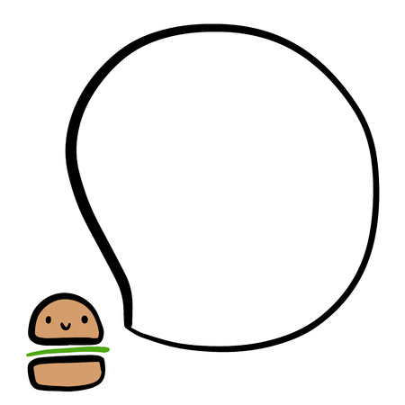 Smiling burger and speech bubble hand drawn illustration in cartoon style minimalism