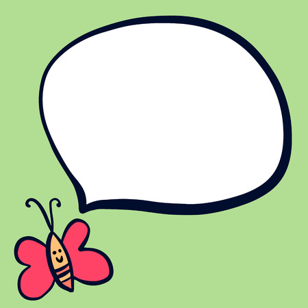 Cute butterfly and speech bubble hand drawn illustration cartoon style minimalism