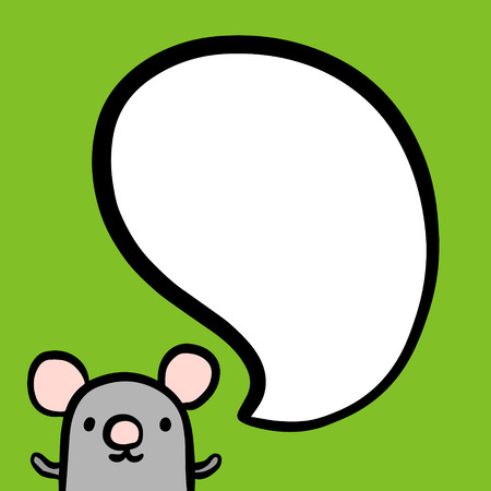 Tiny mouse hand drawn illustration with speech bubble in cartoon style for kids and baby design