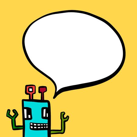 Robot and speech bubble hand drawn illustration in cartoon style minimalism Illustration