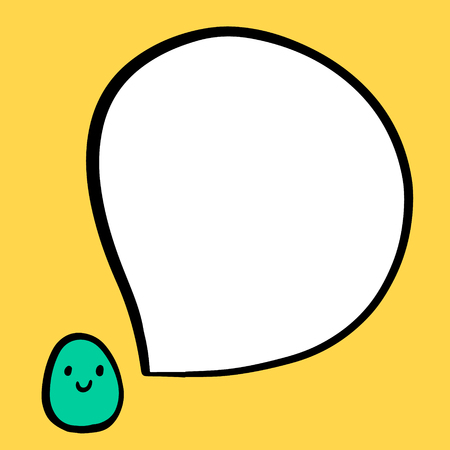 Smiling egg and speech bubble hand drawn illustration in cartoon style minimalism for easter holidays tradition