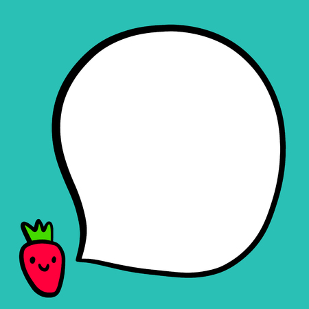Cute talking strawberry and speech bubble hand drawn illustration in cartoon style minimalism