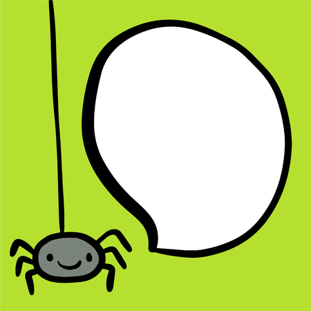 Funny cute spider and speech bubble hand drawn illustration cartoon style minimalism