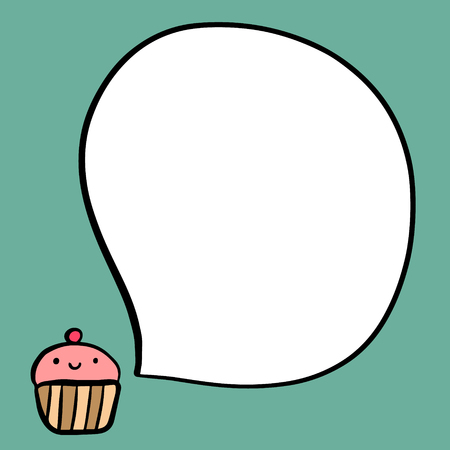 Smiling cup cake and speech bubble hand drawn illustration for cafe and restaurant menu
