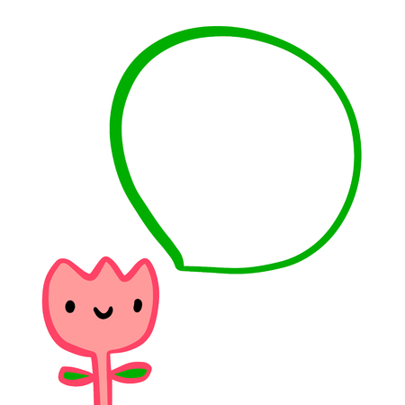 Pink tulip smiling and speech bubble hand drawn illustration in cartoon style minimalism 일러스트