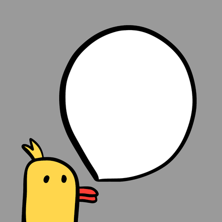 Funny duck and speech bubble hand drawn illustration in cartoon style minimalism 일러스트