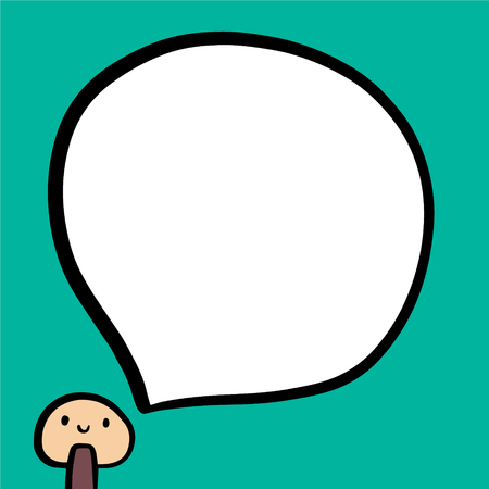 Funny smiling mushroom and speech bubble hand drawn illustration minimalism