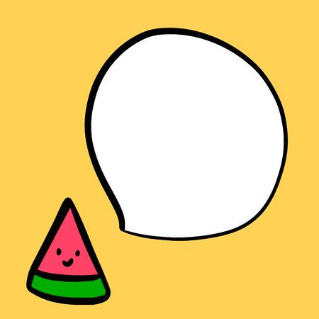 Smiling watermelon and speech bubble hand drawn illustration cartoon minimalism on yellow font summer paradise