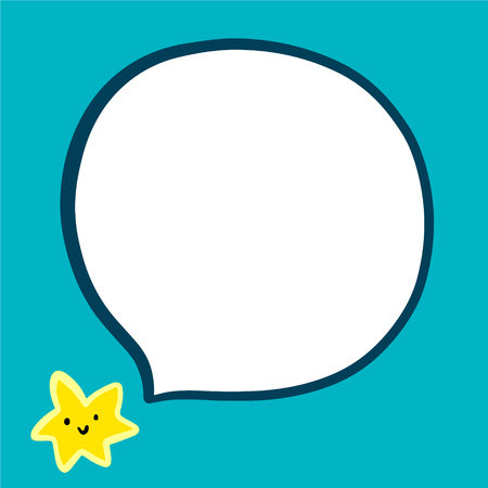 Smiling star hand drawn illustration in cartoon style minimalism with speech bubble yellow and blue