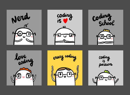 Set of six cards abour programmers and coding hand drawn illustrations in cartoon style minimalism in grey yellow and black color