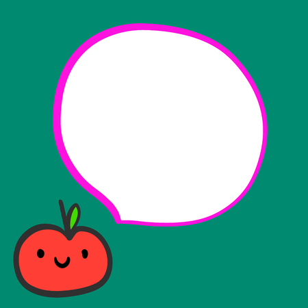 Smiling tomato hand drawn illustration with speech bubble minimalism on green font