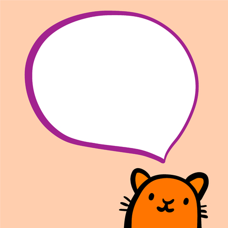 Orange cat and speech bubble hand drawn illustration in cartoon style minimalism for pet shop and animal care Illustration