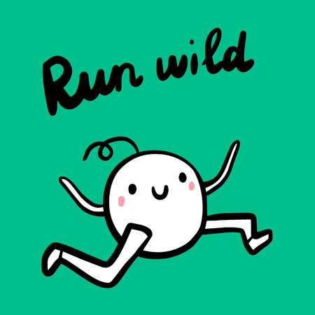 Run wild hand drawn illustration for sports maraphones fitness activities leasure cartoon minimalism oh green font