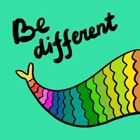 Be different tail of mermaid colorful rainbow style hand drawn illustration in cartoon style Ilustrace