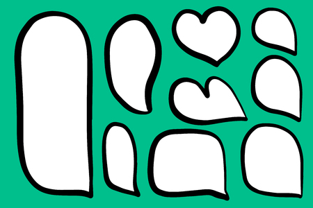Set of different form speech bubbles heart hand drawn illustration on turquoise font minimalism
