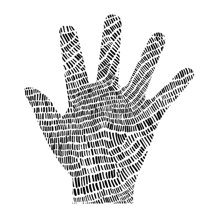 Black dashes hand illustration on white font contrast abstract