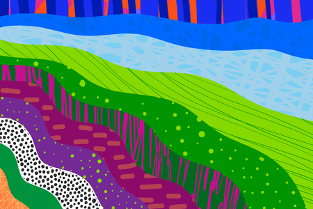 Textured cartoon hand drawn cartoon background. Vibrant colors and different forms. Green blue purple pink orange