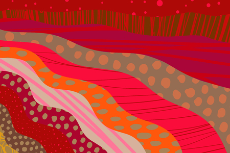Textured cartoon hand drawn cartoon background. Vibrant colors and different forms. Red purple orange pink passion