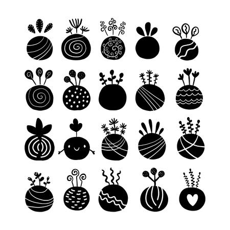 Black logotype hand drawn kokedama set illustration in cartoon style minimalism