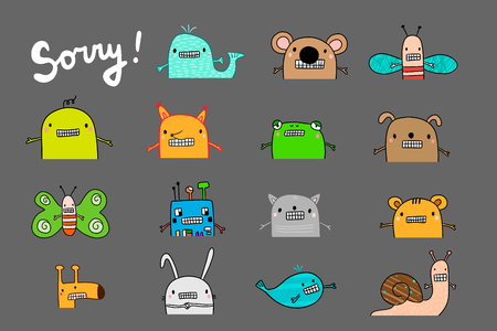 Sorry hand drawn set with different animals and creatures on grey font cartoon minimalism