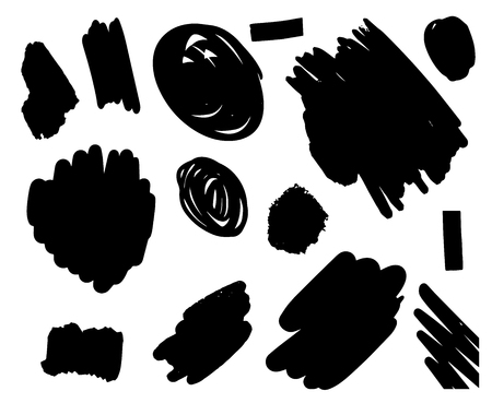 Hand drawn set of brush strokes in different forms black white contrast