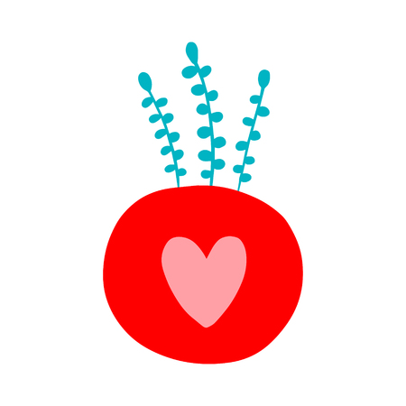Kokedama hand drawn logotype in cartoon minimalism style red pink turquoise