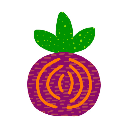 Kokedama hand drawn logotype in cartoon minimalism style green purple pink