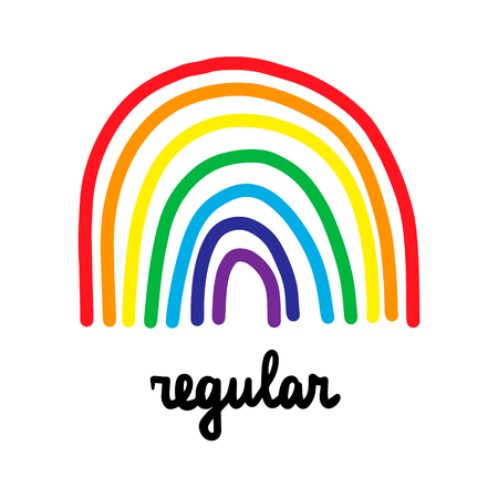Regular hand drawn illustration with cute rainbow colorful lines cartoon minimalism style lettering