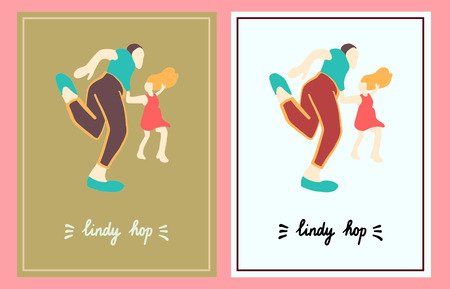 Lindy hop set of two illustration hand drawn in cartoon style minimalism Stock Illustratie