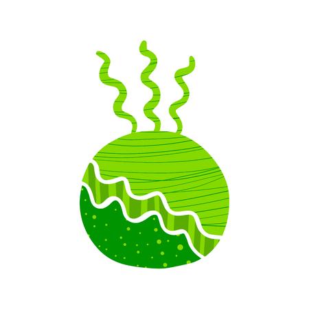 Kokedama handgezeichnetes Logo in Grüntönen im Cartoon-Minimalismus-Stil
