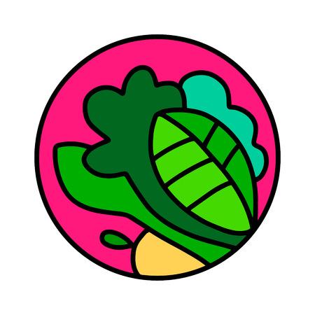 Vegetables and salad leafed hand drawn  for prints posters t shirts branding fruit store bar vegan restaurant drinks cocktails Illustration