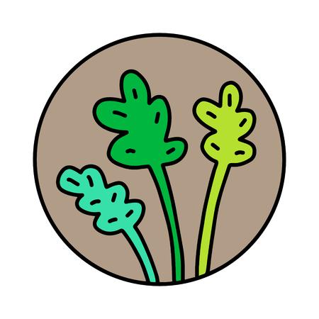 Fresh green leaves of salad hand drawn  for prints posters t shirts branding fruit store bar vegan restaurant drinks cocktails