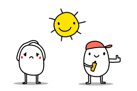 Sun heat and protection summer hand drawn illustration with catoon men. Vector minimalism