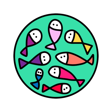 Fresh fish hand drawn in cartoon style. Seafood store market diet Ilustrace