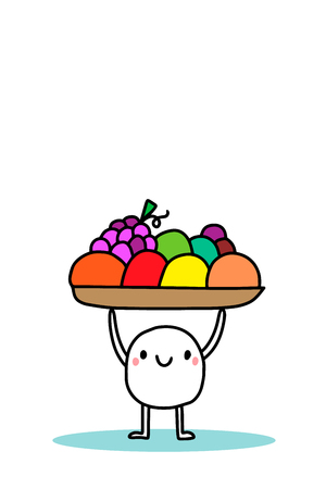 Happy cartoon man holding basket with fruits. Vegan food. Orange grape apple lemon lime tomato avocado Illustration