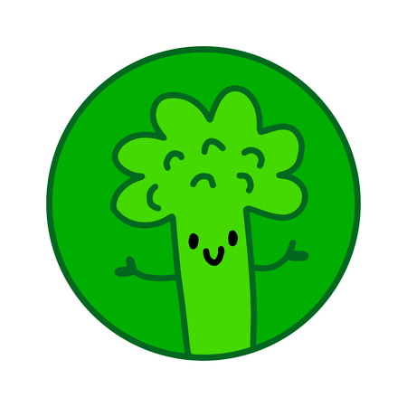 Green smiling broccoli hand drawn in cartoon style for food stores diet programmers and vegans