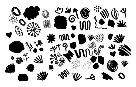 Big hand drawn set of different decorative elements. Vector illustration for abstract backgrounds Illustration