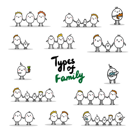 Types of family. Hand drawn set of illustrations with cartoon men. Lettering. Vector