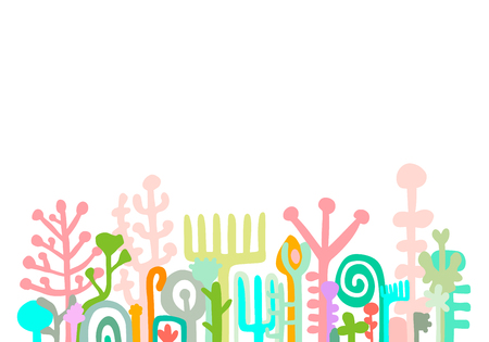 Colorful pastel hand drawn background with herbal elements. Monsters creatures objects. Vector minimalism beautiful