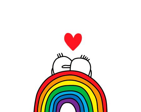 Gay couple of cartoon men sitting on the rainbow. Vector hand drawn illustration. Minimalism style short hair Illustration