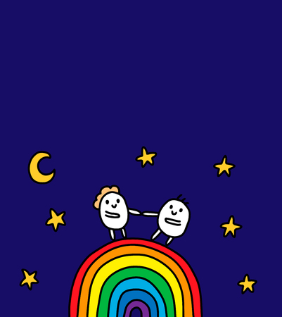 Two cartoon women and men standing on the bright rainbow at night. Hand drawn vector illustration. Vibrant colors Illustration