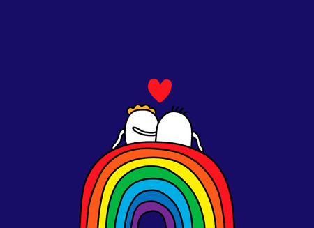 Couple of cartoon people sitting on the rainbow. Hand drawn vector illustration. Minimalism Illustration