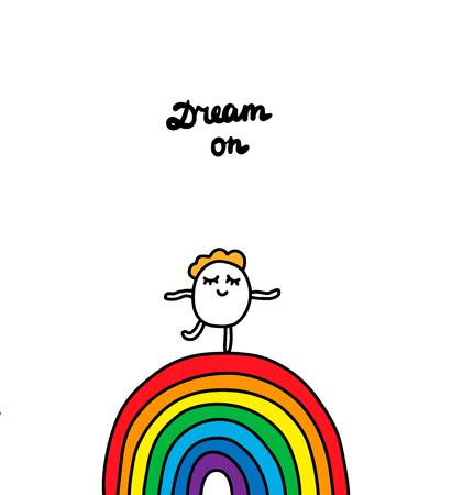 Dream on hand drawn vector illustration. Cartoon men dancing on the rainbow. Minimalism