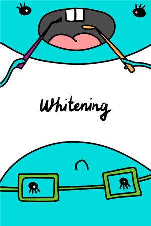 Whitening hand drawn vector illustration. Dental clinic manipulation. Minimalism cartoon style blue colors Foto de archivo - 123206837