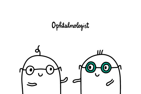 Ophtalmologyst hand drawn vector illustration in cartoon style. Two men in glasses
