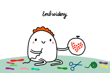 Embroidery hand drawn vector illustration in cartoon style. Cartoon men making heart of stitches Vektorové ilustrace