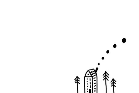 Tiny house and new year trees hand drawn illustration in cartoon style. Minimalism card white and black contrast