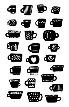 Set of black and white cups different forms sizes textures. Hand drawn vector illustration in cartoon style. Minimalism